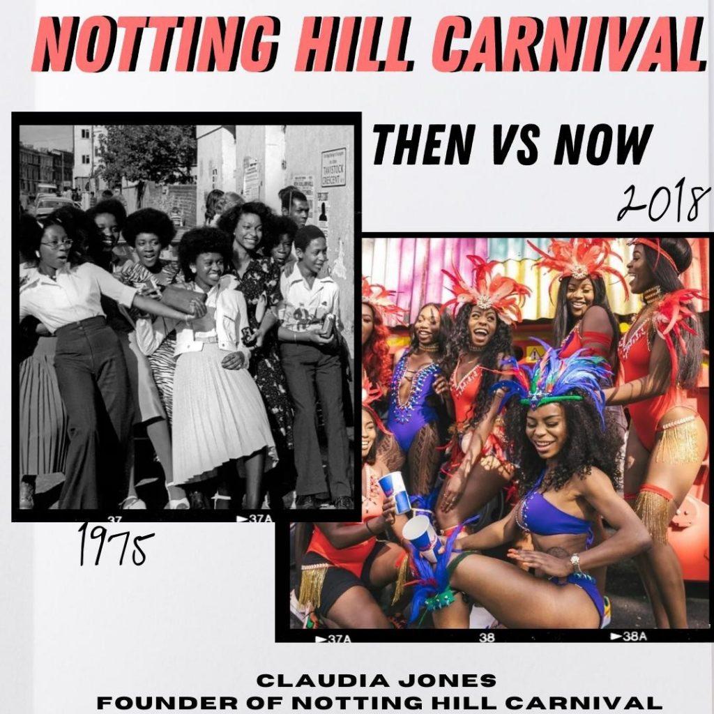 Notting Hill carnival: Then vs now. Black girls dancing at carni in 1975 vs 2018.